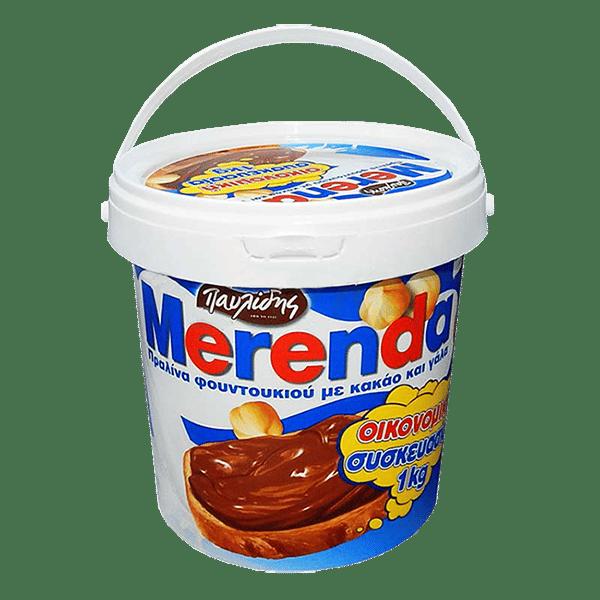 Pavlides Merenda / Μερέντα Πραλίνα Φουντουκιού 1kg Η γνωστή Μερέντα Πραλίνας φουντουκιού Παυλίδη με κακάο και αποβουτυρωμένο γάλα.