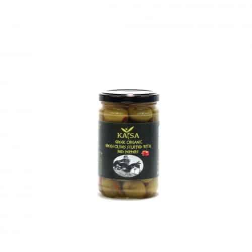 Greek Organic Green Olives Stuffed with Red Peppers / ΚΑΤΣΑ Βιολογικές Πράσινες Ελιές γεμιστές με Κόκκινη Πιπεριά 320g