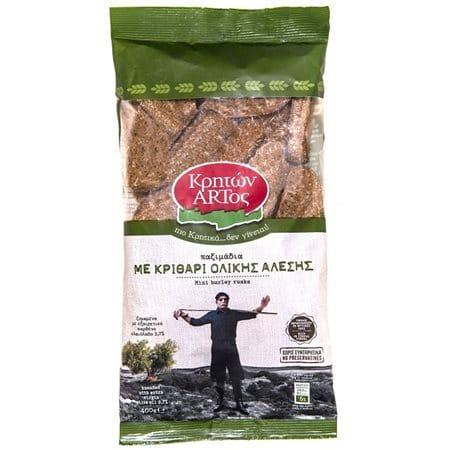 Kriton Artos Small dried rusks with Whole grain Barley / Κρητών Άρτος Παξιμαδάκια με Κριθάρι Ολικής Άλεσης 400g