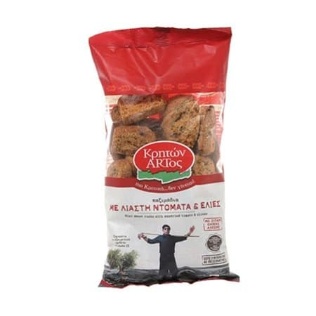 Kriton Artos Dried rusks with sun-dried Tomato and Olives / Κρητών Άρτος Παξιμάδια με Λιαστή Ντομάτα & Ελιές 400g