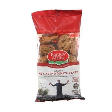 Kriton Artos Dried rusks with sun-dried Tomato and Olives / Κρητών Άρτος Παξιμάδια με Λιαστή Ντομάτα & Ελιές 400g