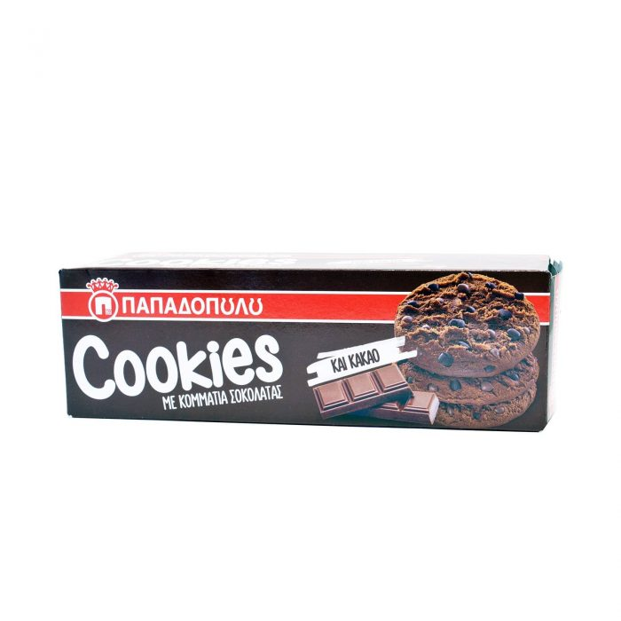 Papadopoulou Cookies Double Chocolate / Παπαδοπούλου Μπισκότα με Κακάο και Σοκολάτα 180g