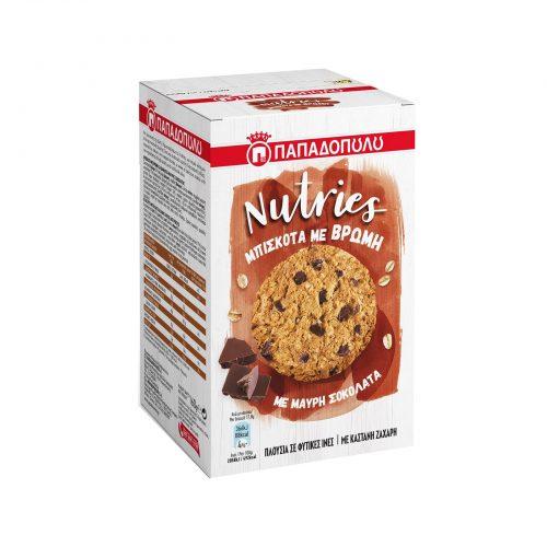 Papadopoulou Nutries Cookies,with Oats & Dark Chocolate / Παπαδοπούλου Μπισκότα με Βρώμη και Μαύρη Σοκολάτα 150g