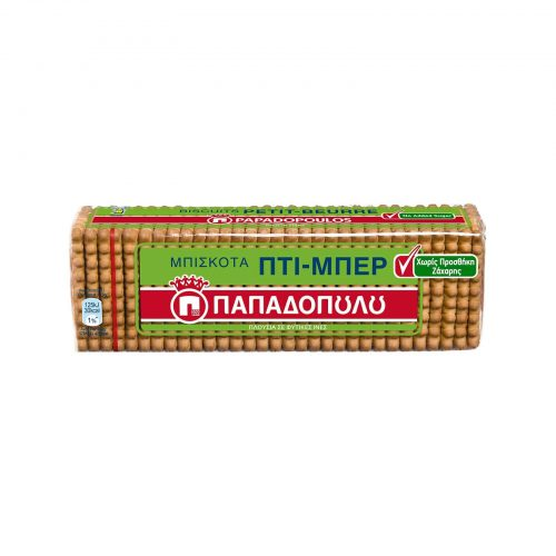 Papadopoulou Petit-Beurre with no added sugar / Παπαδοπούλου πτι μπερ χωρίς προσθήκη Ζάχαρης 225g