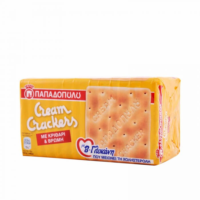 Papadopoulou Cream Crackers with barley, oats, and beta-glucan / Παπαδοπούλου Cream Crackers με Κριθάρι & Βρώμη 185g