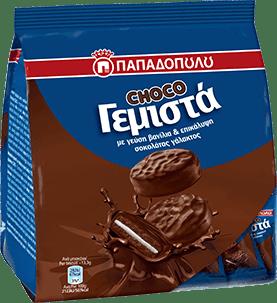 Papadopoulou Filled Biscuits Vanilla With Chocolate Coating / Παπαδοπούλου Μπισκότα Γεμιστά Βανίλια Με Επικάλυψη Σοκολάτας 200g