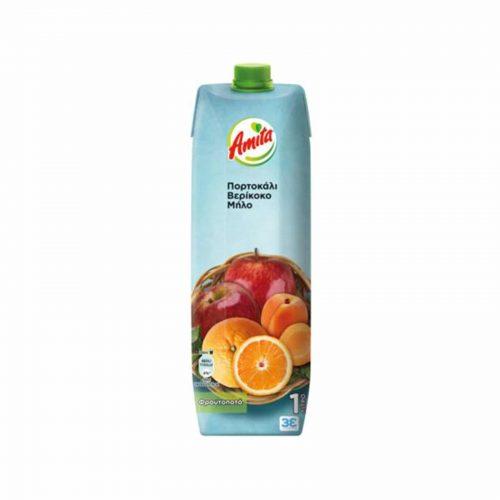 Amita Orange, Apricot & Apple / Φρουτοποτό Πορτοκάλι-Μήλο-Βερίκοκο 1L