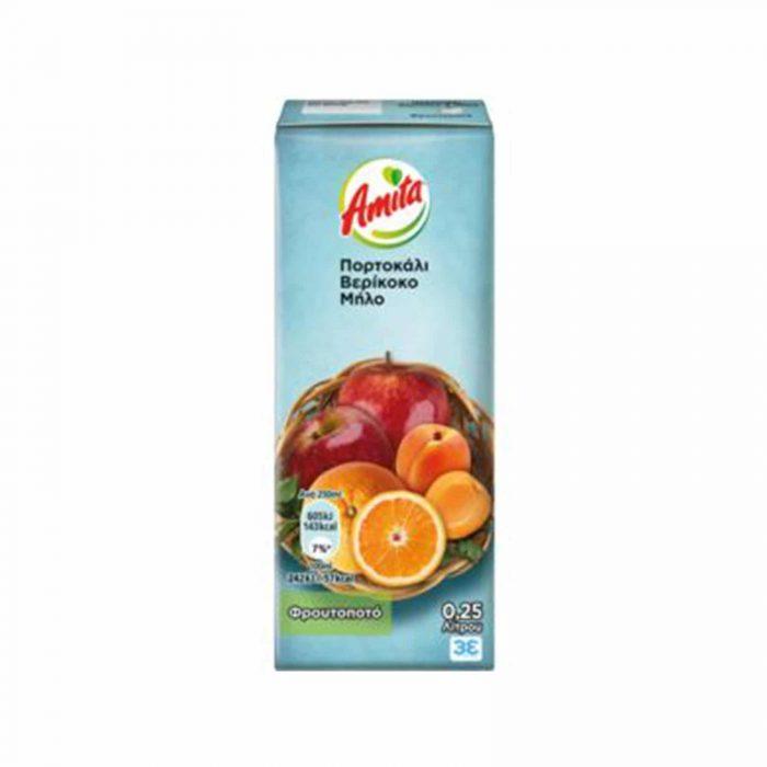 Amita Orange, Apricot & Apple / Φρουτοποτό Πορτοκάλι-Μήλο-Βερίκοκο 250ml