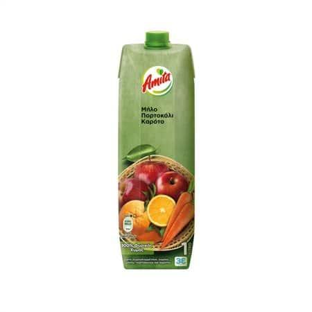Amita Natural Juice Apple, Orange, Carrot / Φυσικός Χυμός Μήλο-Πορτοκάλι-Καρότο 1L