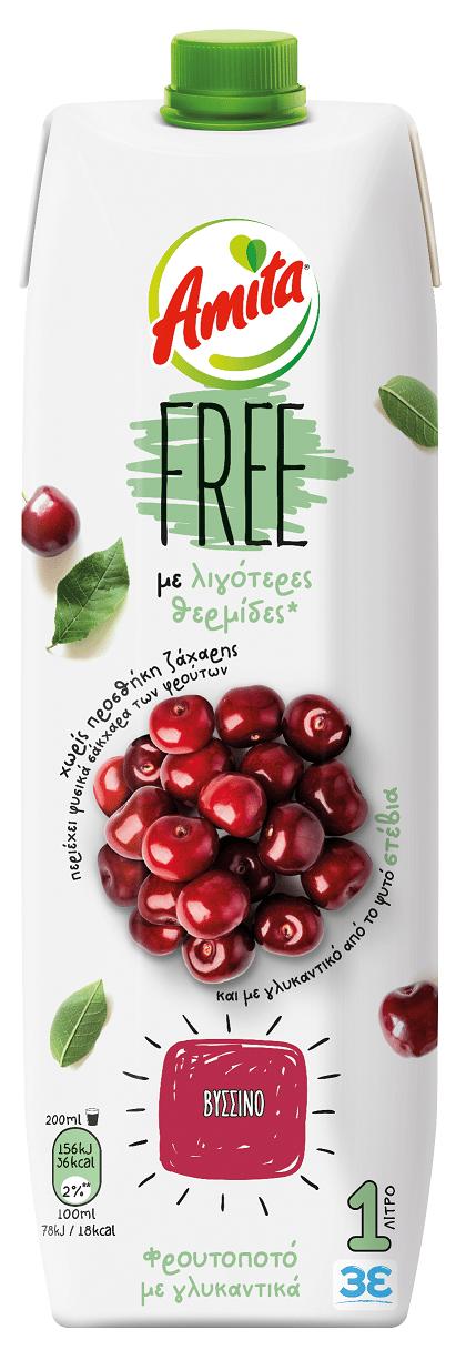 Amita Free Froutopoto Sour Cherry / Φρουτοποτό Βύσσινο Free 1L