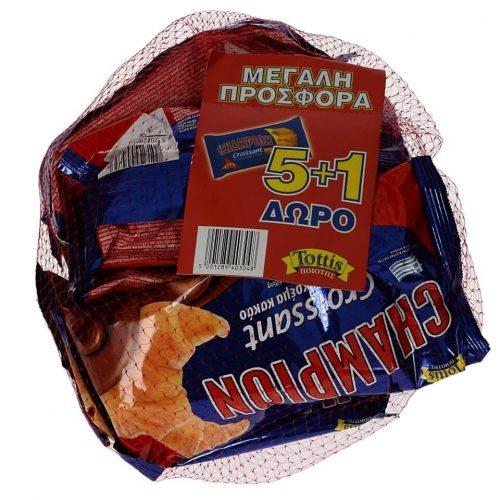 Tottis Champion Croissants Praline / Κρουασάν με Γέμιση Πραλίνας (70gx6) (5+1 Free)