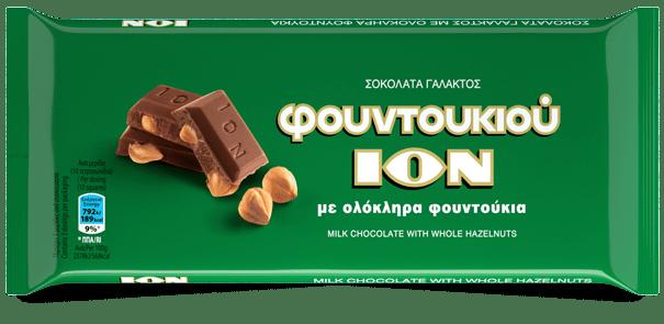 ION Milk Chocolate with whole Hazelnut / ΙΟΝ Σοκολάτα Γάλακτος με ολόκληρα Φουντούκια 100g