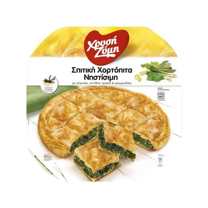 Chrysi Zymi Homemade herbs pie with spinach, chicory & leek / Χρυσή Ζύμη Σπιτική Χορτόπιτα Νηστίσιμη με σπανάκι, ραδίκια, πράσο & κρεμμυδάκι 850g