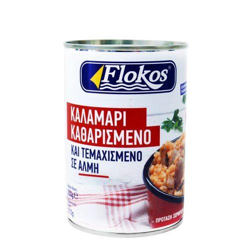 Flokos Chopped & Peeled Squid / Καλαμάρι Καθαρισμένο & Τεμαχισμένο σε Αλμη 210g