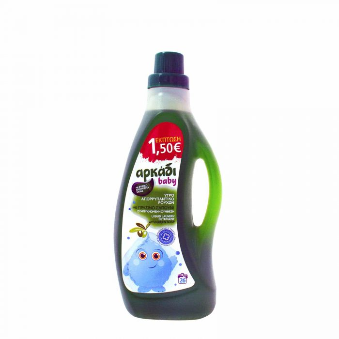 Arkadi Baby Laundry Liquid Detergent with Soap / Αρκάδι Υγρό Απορρυπαντικό Ρούχων με Σαπούνι Baby (1,575lt / 26μεζ)