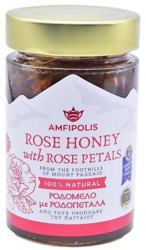 Amfipolis Rose Honey with rose petals / Αμφίπολης Ροδόμελο με πέταλα τριαντάφυλλου 250g
