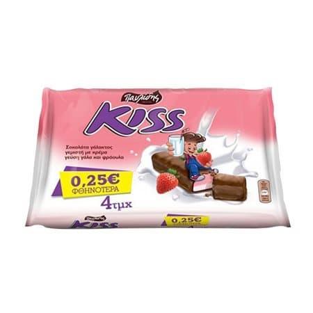 Pavlides Kiss Strawberry Chocolate / Παυλίδης Σοκολάτα Φράουλα 4x27.5g