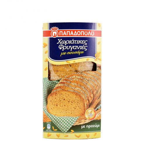 Papadopoulou Rustic Wholemeal Toast With Sesame Seeds and Sourdough / Χωριάτικες φρυγανιές με σουσάμι 240g